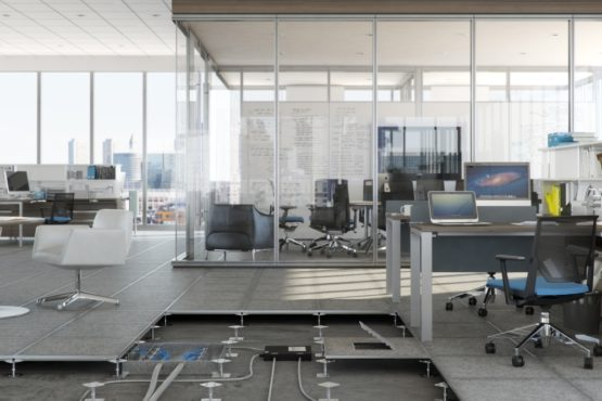 Haworth's raised access flooring shown with the Reside desking system.